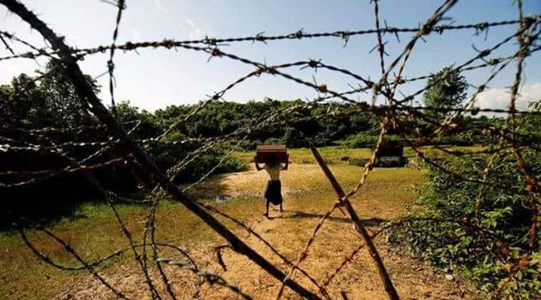 myanmar landmines, myanmar prevent rohingya, myanmar prevent rohingya muslims, myanmar landmines on bangladesh border, indian express news