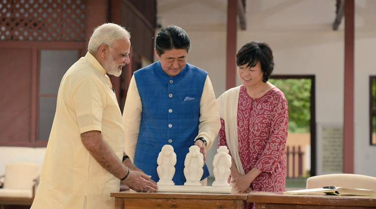 shinzo abe, shinzo abe gujarat, shinzo abe in india, shinzo abe india visit, bullet train, narendra modi