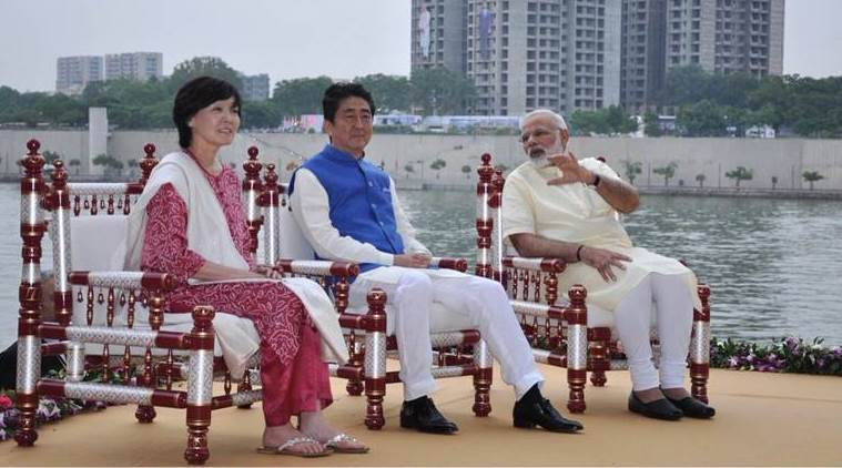 shinzo abe, shinzo abe gujarat, shinzo abe in india, shinzo abe india visit, bullet train, narendra modi, modi in gujarat, sabarmati ashram, sidi sayyid mosque, india news