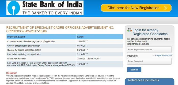 SBI SO recruitment 2017: Applications open at sbi.co.in, know how to Govt Bank Job Form on law jobs, church jobs, private sector jobs, industry jobs, physics jobs, english jobs, railway jobs, hr jobs,