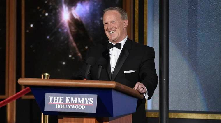 Emmys 2017: Sean Spicer makes shocking cameo, mocks Donald Trump with Stephen Colbert