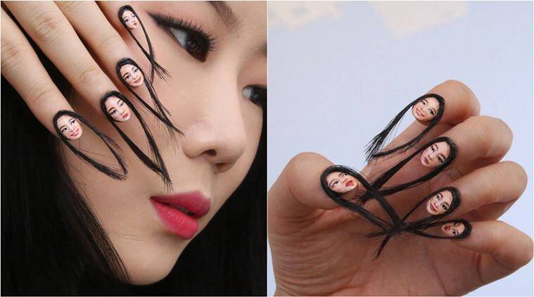 This creepy self nail art with long hair attachments is freaking hair nail self nail art hair nail art nailart weird nail art prinsesfo Images