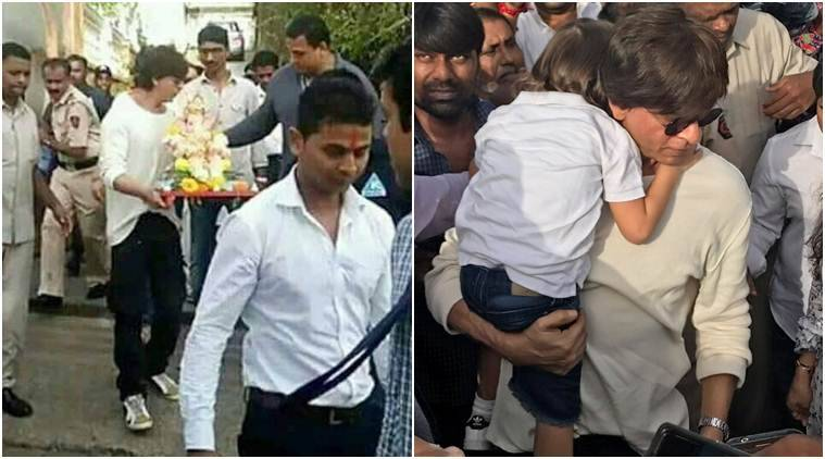 Shah Rukh Khan And Little AbRam At Ganesh Chaturthi Celebrations