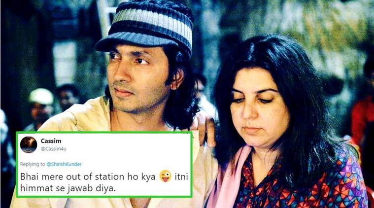 shirish kunder, farah khan, shirish kunder childhood photograph, farah khan twitter reply, shirish kunder farah khan, twitter conversation, indian express, indian express news