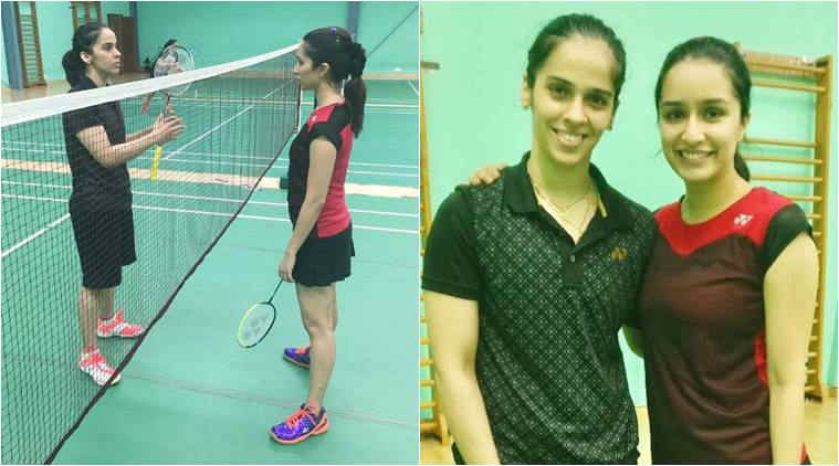 Ace shuttler Saina Nehwal turns coach for Shraddha Kapoor. See photos