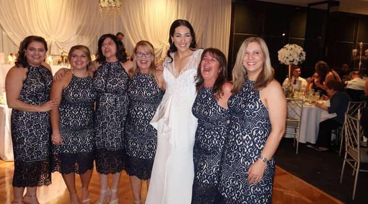 six women wearing same dress to a wedding, six women wearing same dress, photo of six women wearing one dress, wedding photos, Indian express, Indian express news