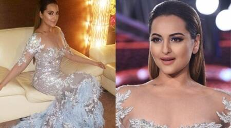 Sonakshi Sinha looks dreamy and sensuous in this naked dress by Shane and Falguni Peacock