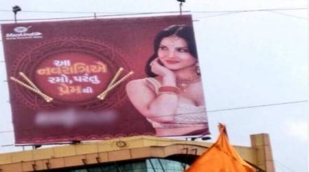 Sunny Leone's condom ad hoarding linked to Navratri stirs controversy in Surat