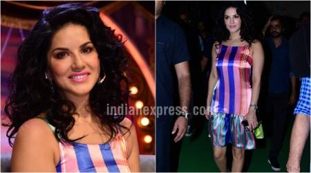 Sunny Leone's bubblegum pink-striped dress fails to impress