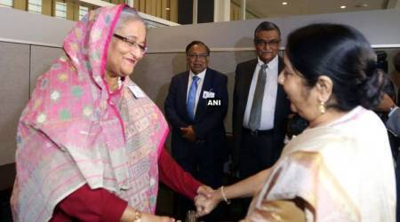 Sushma Swaraj meets Bangladesh PM Sheikh Hasina, no discussion on Rohingya crisis