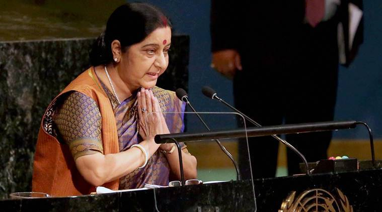 Sushma Swaraj, UNGA, sushma swaraj unga address, India Pakistan relations, Pakistan at UNGA, Israel diplomatic confereence, Indian Express Columns, sushma swaraj unga speech, sushma swaraj on pakistan, united nations general assembly, india-pakistan, world news, indian express news