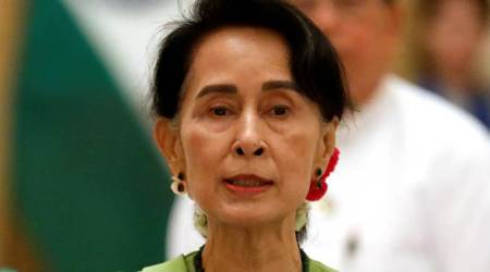 Myanmar leader Aung San Suu Kyi makes 1st visit to northern Rakhine