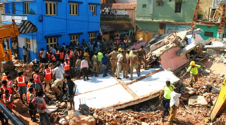 tamil nadu building collapse, tn building collapse, Tiruchirappalli, trichy building collapse, building collapse death toll, trichy news, tamil nadu news, india news, indian express