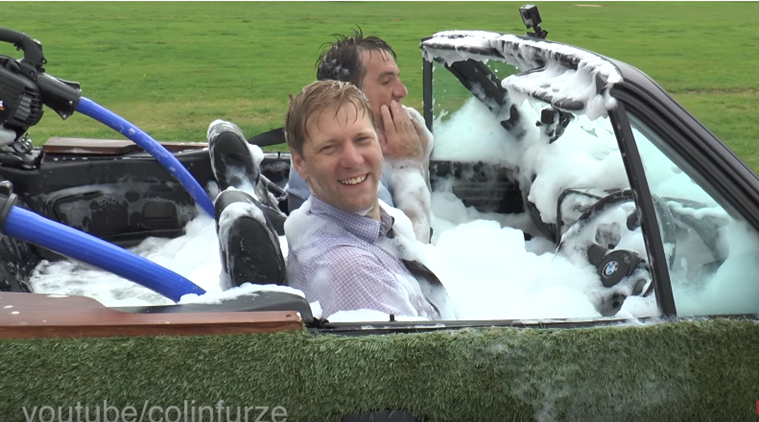 video watch gadget geek colin furze convert his old bmw into a hot spa tub the indian express. Black Bedroom Furniture Sets. Home Design Ideas