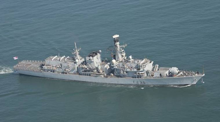 UK Royal Navy Ship HMS Monmouth, HMS Monmouth, HMS Monmouth Goa, India-UK Naval Exercise, Indo-UK Naval Exercise, UK Naval ship, India News, Indian Express, Indian Express News