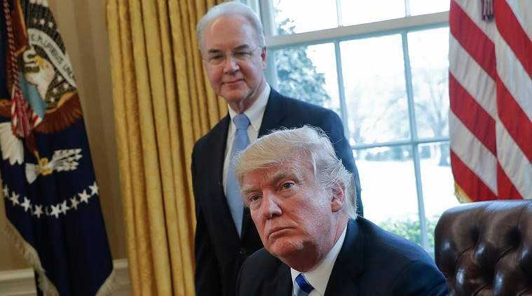 Tom Price, US Health Secretary Tom Price, Donald Trump, Tom Price private jet travel, USA News, World News, Indian Express News