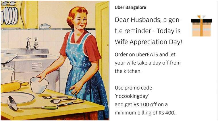 uber, ubereats, uber ad, wife appreciation day, uber wife appreciation day ad, sexist ad by uber, uber twitter reactions, indian express, indian express news