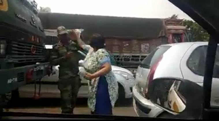 Smriti Kalra a resident of Gurgaon was caught on camera slapping a soldier in Delhi