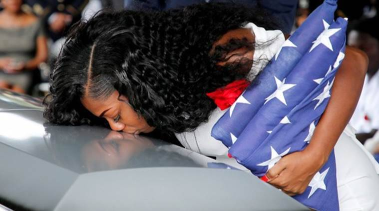 donald trump, Myeshia Johnson, fallen soldier, American soldier killed, Trump forgets name, Trump harsh words, black soldiers, US Army, US troops, World News, Indian Express