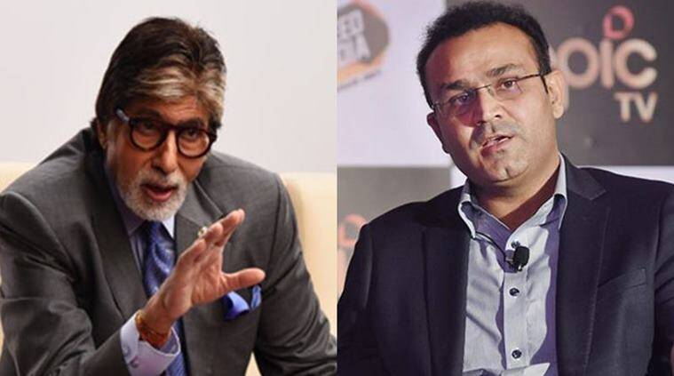Amitabh Bachchan, Amitabh Bachchan birthday, Virender Sehwag, Sourav Ganguly, sports news, cricket, Indian Express
