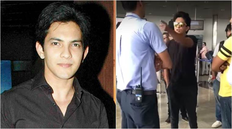 aditya narayan, aditya narayan shouts at airline official, udit narayan son, आदित्य नारायण, आदित्य नारायण वीडियो, udit narayan son aditya, aditya narayan loses temper airline official, aditya narayan loses temper video, aditya narayan shouts at indigo officer, indian express, indian express news