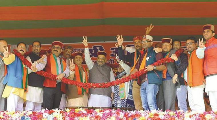 Amit Shah backs Dhumal as Himachal's CM face