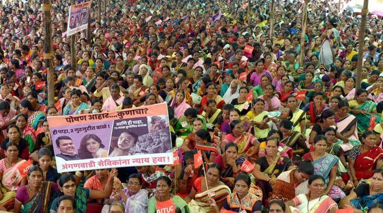 anganwadi workers, anganwadi protests, anganwadi honarium, anganwadi jail bharo andolan, maharashtra, maharashtra government, Dr Babasaheb Ambedkar Udyan, pune, latest news, indian express