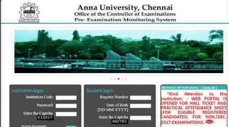 Anna University Nov/ Dec exam 2017 hall tickets released, download at coe1.annauniv.edu