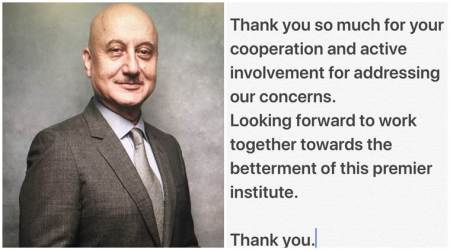 Anupam Kher thanks FTII students for their faith