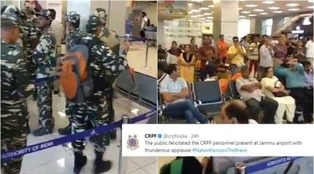WATCH: CRPF personnel greeted with applause at Jammu airport
