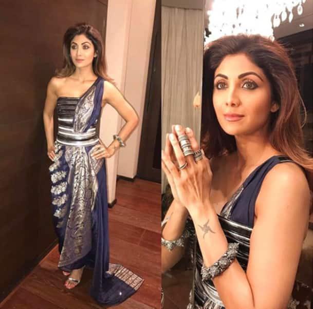 Shilpa Shetty, Shilpa Shetty latest photos, Shilpa Shetty saris, Shilpa Shetty sari with belt, Shilpa Shetty fusion fashion, Shilpa Shetty fashion, Shilpa Shetty latest style, indian express, indian express news