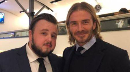 David Beckham has a fan moment with Samwell Tarly of Game of Thrones