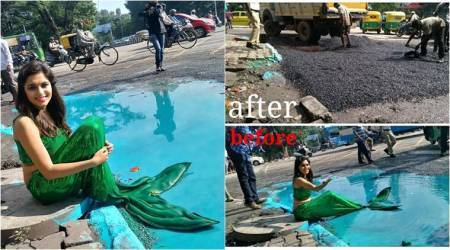 'Mermaid' helps fix pothole: Bengaluru artiste turns big crater into pond to grab civic bodies' attention