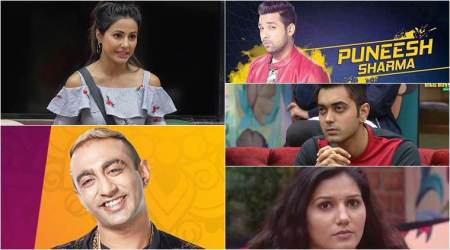Bigg boss 11, bigg boss 11 eviction, bigg boss 11 nominations, hin khan, puneesh sharma, sapna choudhary, akash dadlani, luv tyagi, hina khan sapna choudhary,