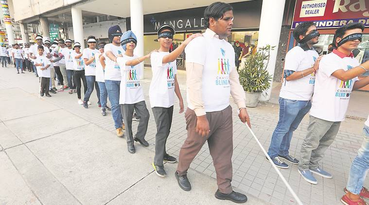 world sight day news, blind walk news, chandigarh news, indian express news