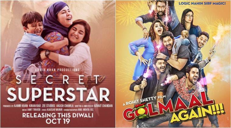 golmaal again, secret superstar, golmaal secret superstar, ajay devgn, aamir khan, zaira wasim