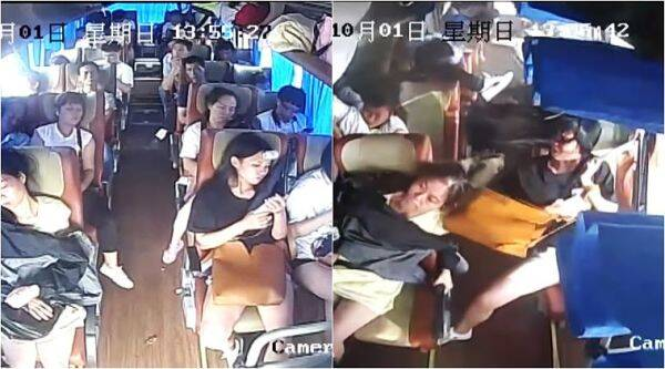 epic video bus turned in china, seat belts save lives in china horrible accident, seat belts china bus overturned horrible accident, indian express, indian express news