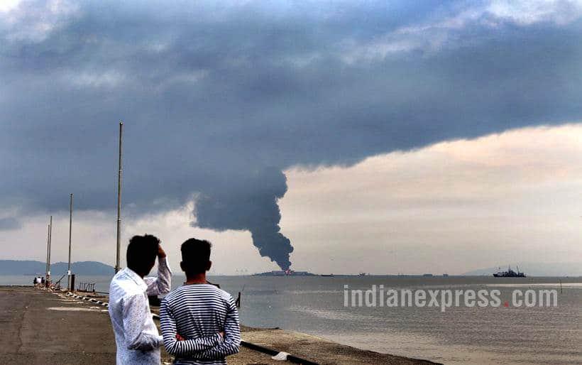 butcher island fire photos, mumbai butcher island, oil tanker fire mumbai, butcher island images, butcher island fire pics, mumbai latest news, indian express
