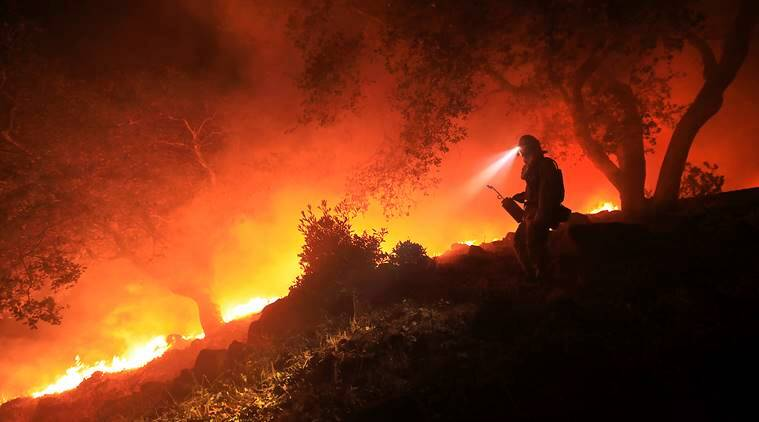 california fire, wildfire cali, napa valley, us, united states, wind fire california, california death toll, indian express