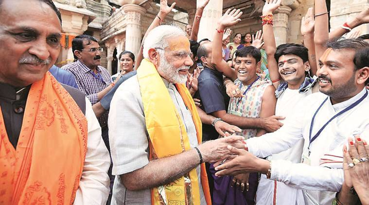 Narendra Modi, Gujarat, Narendra Modi Gujarat Visit, Narendra Modi GST, Narendra Modi gujarat speech, Narendra Modi dwarka speech, Narendra Modi GST, Gujarat election 2017, Gujarat Election, GST meeting, GST slabs, GST traders, India News, Indian Express news