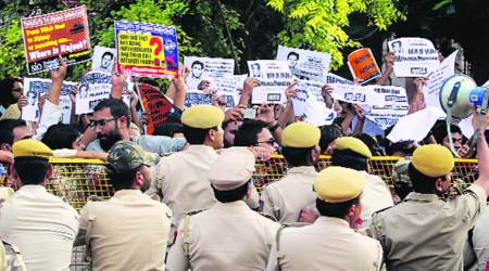 Year after Najeeb went missing, protest at CBI headquarters