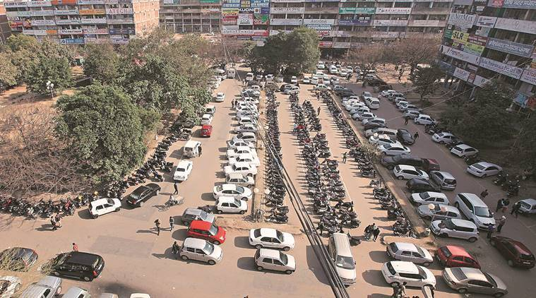 A parking lot in Chandigarh