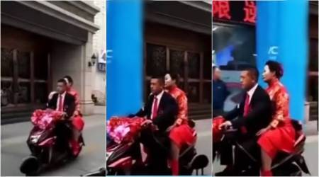 VIDEO: This Chinese delivery boy got married on a scooter!