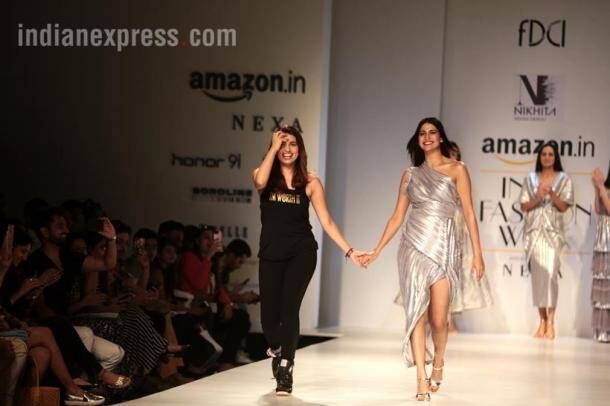 amazon india fashion week, amazon india fashion week 2018, aifw ss 2018 celebs, bollywood celebs aifw ss 2018, nargis fakhri, aifw abhay deol, aifw nidhhi agerwal, aifw ahana kumra, indian express, indian express news