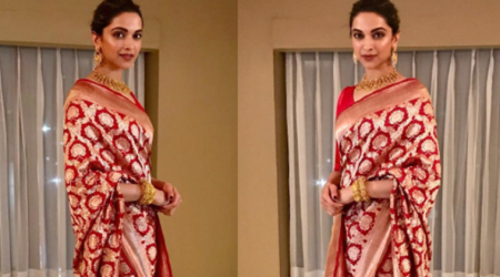 Deepika Padukone draped in a Raw Mango silk sari is 'traditional perfection'