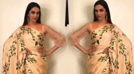 Deepika Padukone failed to work her usual magic in this simple Raw Mango sari and sheer-sleeved blouse