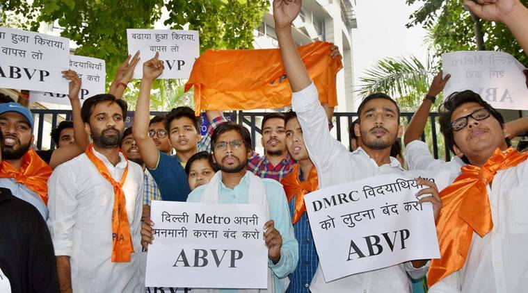 Abvp Protests Outside Delhi Metro Headquarters Demands