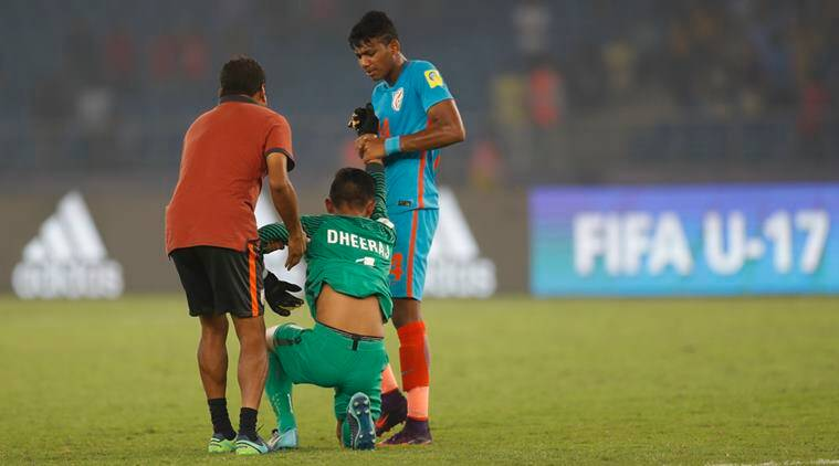 India vs Ghana, Ind vs GHA, FIFA u 17 world cup, FIFA u 17 wc, Dheeraj singh, India u 17 football team, football news, indian Express