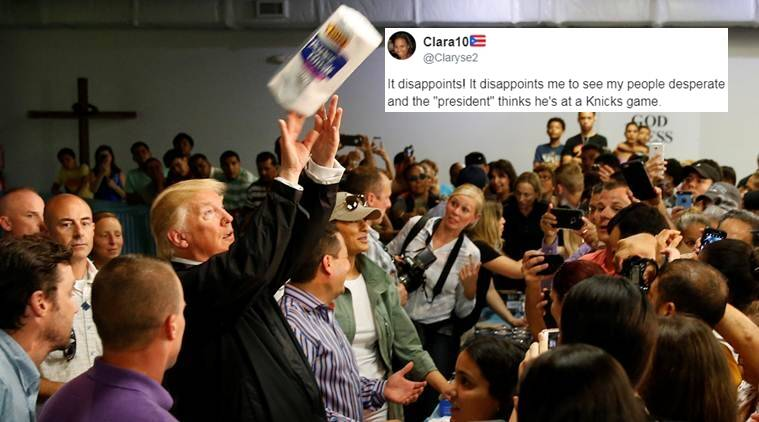 donald trump, donald trump at puerto rico, hurricane maria, donald trump throwing paper towels, twitter reactions, indian express, indian express news