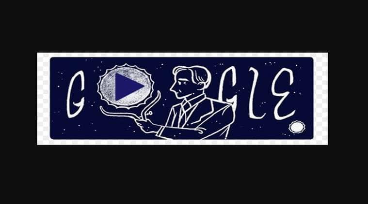 Google doodle, Subrahmanyan Chandrasekhar, Nobel winner Subrahmanyan Chandrasekhar, white stars, indian astrophysicist, google dedication, Indian Express